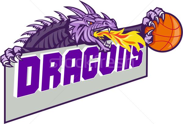 Dragon Head Fire Clutching Basketball Retro Stock photo © patrimonio