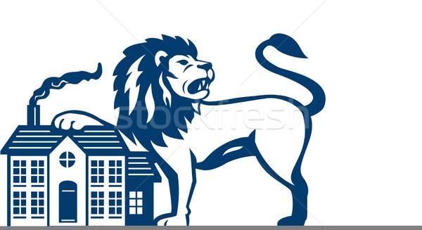 сердиться лев лапа дома изолированный ретро Сток-фото © patrimonio