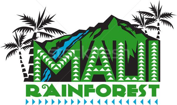 Foresta pluviale retro illustrazione parole testo montagna Foto d'archivio © patrimonio