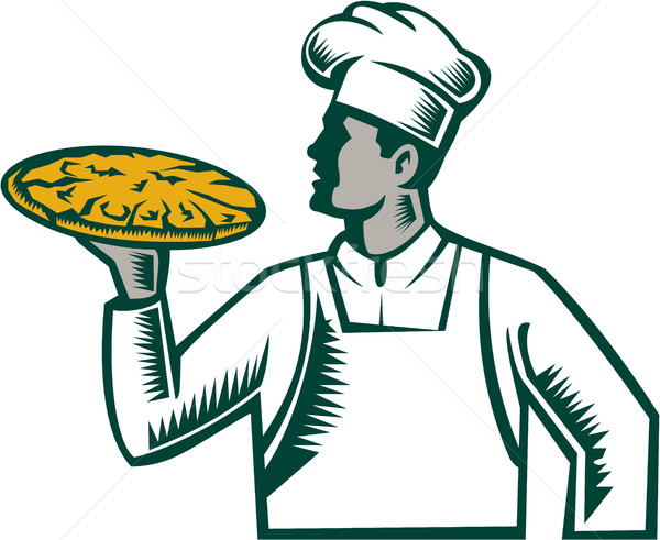 Stock photo: Pizza Chef Holding Pizza Woodcut