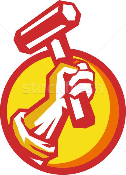 Union Worker Hand Holding Hammer Circle Retro Stock photo © patrimonio