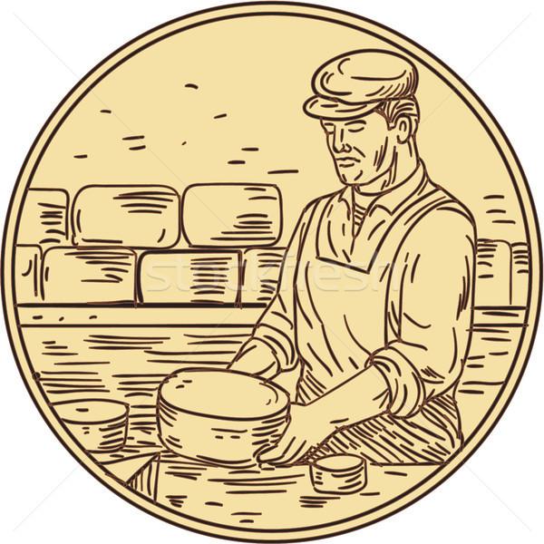 Cheesemaker Making Cheddar Cheese Circle Drawing Stock photo © patrimonio