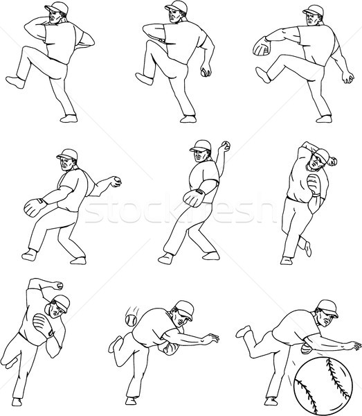 American Baseball Pitcher Throwing Ball Complete Set Stock photo © patrimonio