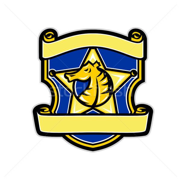 Seahorse Star Badge Retro Stock photo © patrimonio
