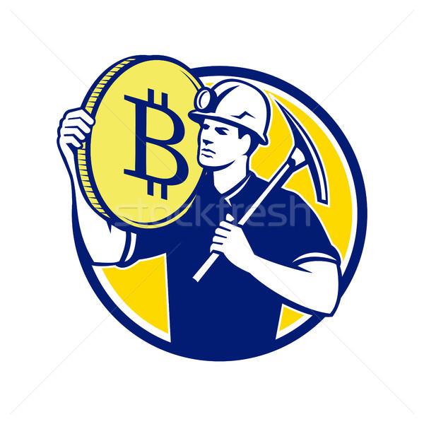 Cryptocurrency Miner Bitcoin Circle Retro Stock photo © patrimonio