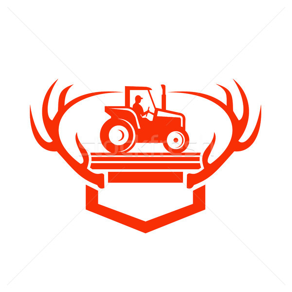 White Tail Deer Antler Tractor Retro Stock photo © patrimonio