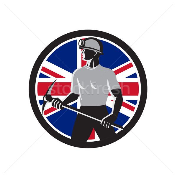 Brits union jack vlag icon retro-stijl Stockfoto © patrimonio