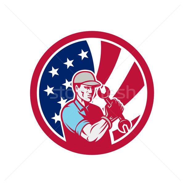 Stock fotó: Amerikai · ipari · karbantartás · szerelő · USA · zászló