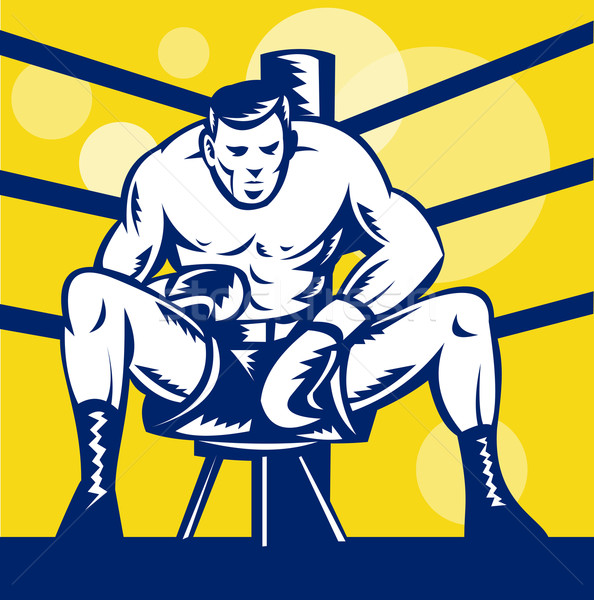 Boxer sitting on stool front view Stock photo © patrimonio