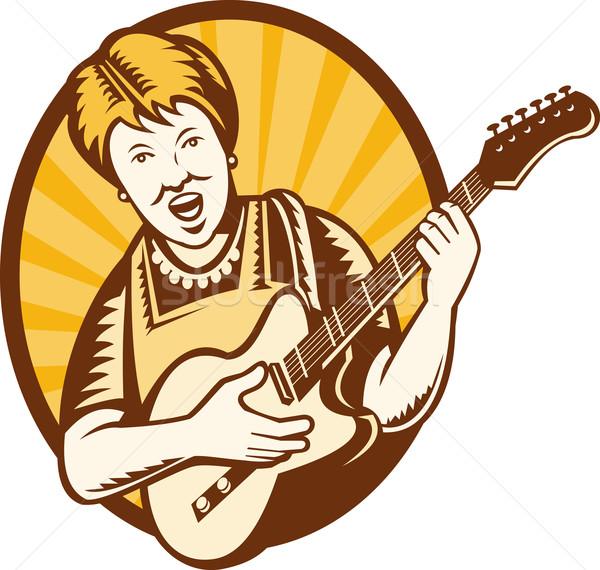 Nagyi öregasszony játszik elektromos gitár illusztráció nagymama Stock fotó © patrimonio