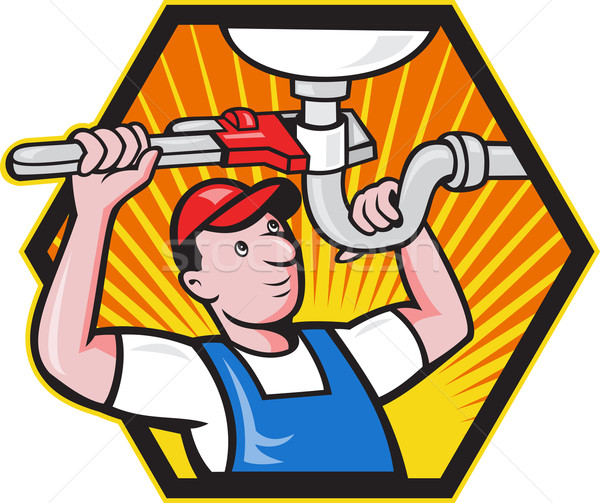 Plumber Worker With Adjustable Wrench  Stock photo © patrimonio