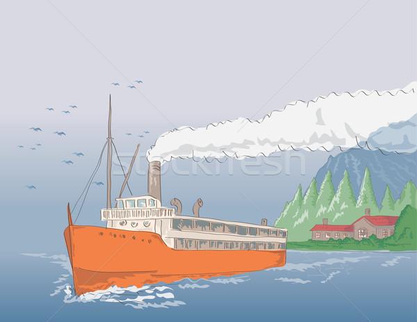 Parowiec vintage ilustracja żeglarstwo w stylu retro Zdjęcia stock © patrimonio
