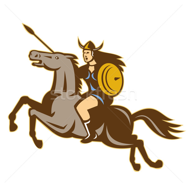 Valkyrie Amazon Warrior Horse Rider Stock photo © patrimonio