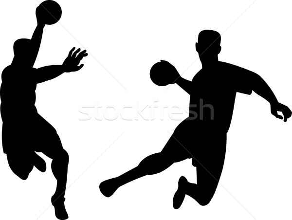 Handball Player Jumping Retro Stock photo © patrimonio