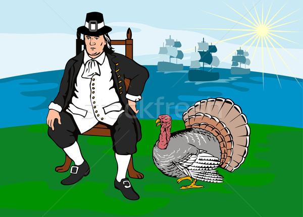Zarándok Törökország illusztráció retró stílus Stock fotó © patrimonio