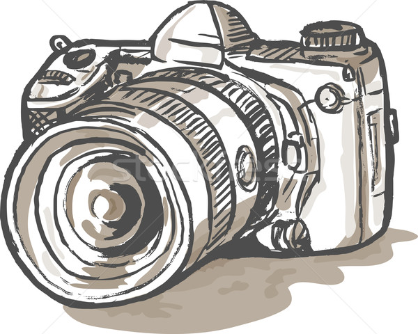 Tekening digitale camera hand schets illustratie Stockfoto © patrimonio
