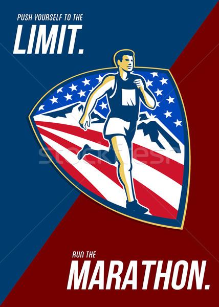 アメリカン マラソン ランナー レトロな ポスター ストックフォト © patrimonio