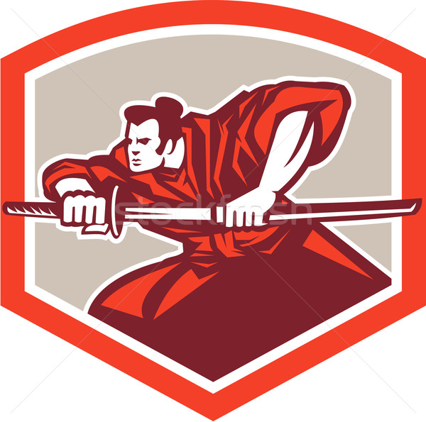 Samurai Warrior Drawing Katana Sword Shield Stock photo © patrimonio