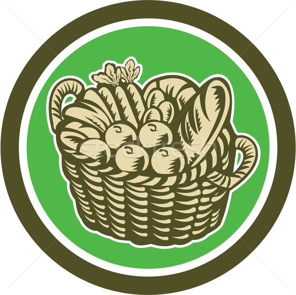 Crop Harvest Basket Circle Retro Stock photo © patrimonio