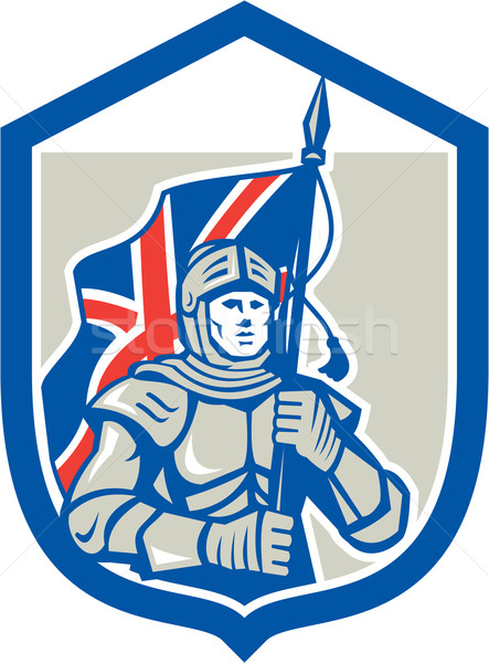 Knight Holding British Flag Shield Retro Stock photo © patrimonio