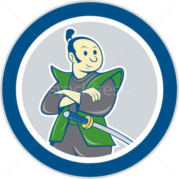 Samurai guerreiro brasão dobrado círculo desenho animado Foto stock © patrimonio