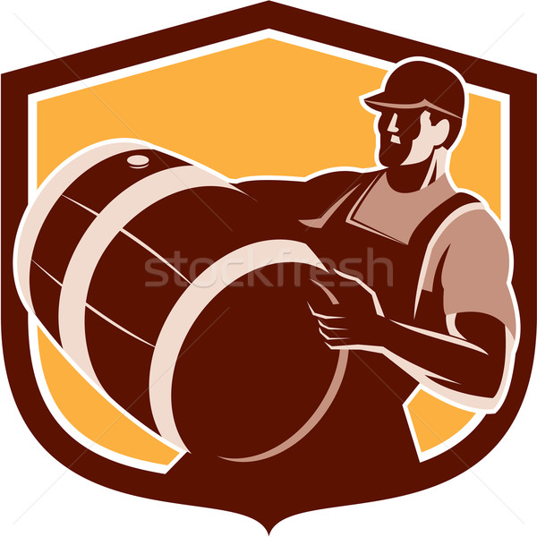 Bartender Carrying Beer Barrel Shield Retro Stock photo © patrimonio