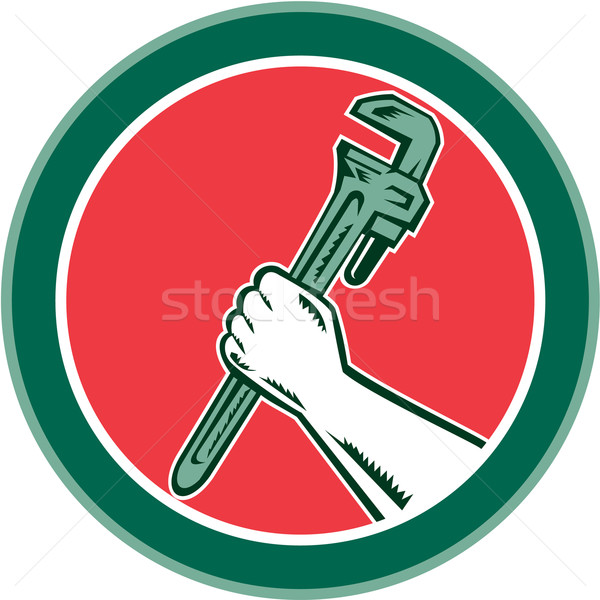 Hand Holding Adjustable Wrench Circle Woodcut Stock photo © patrimonio