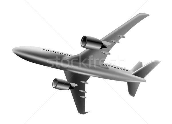 silver jumbo jet plane low angle Stock photo © patrimonio