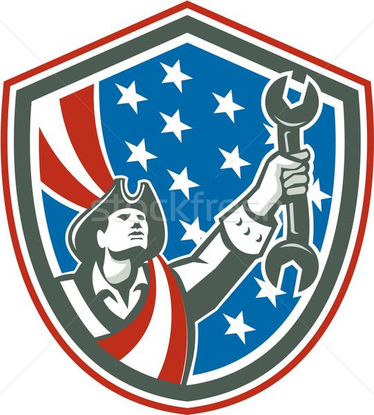 Amerikai hazafi szerelő tart csavarkulcs pajzs Stock fotó © patrimonio