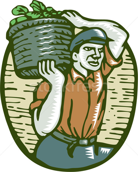 Organic Farmer Basket Crop Woodcut Linocut Stock photo © patrimonio