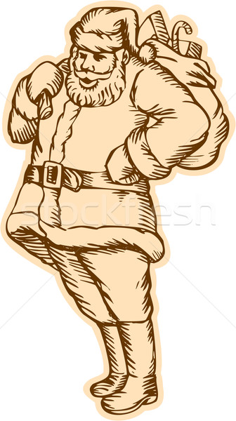 Santa Claus Father Christmas Standing Etching Stock photo © patrimonio