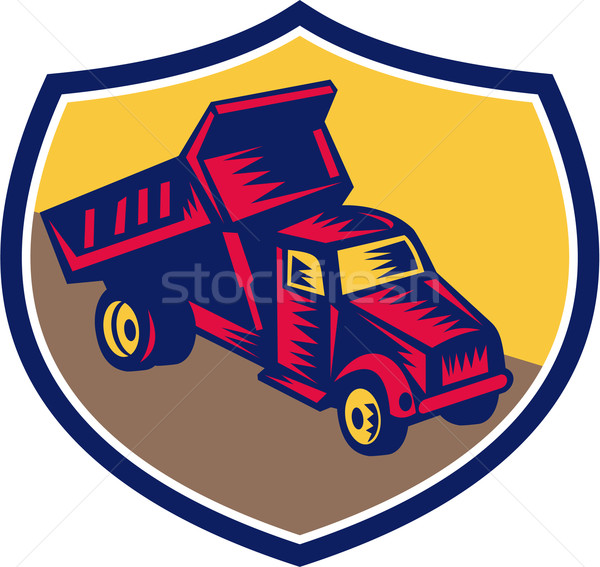 Dump Truck Shield Woodcut Stock photo © patrimonio