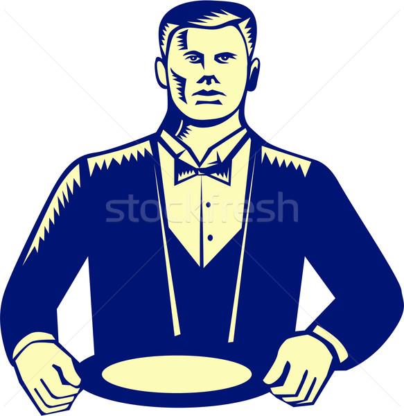 Waiter Cravat Serving Plate Woodcut Stock photo © patrimonio
