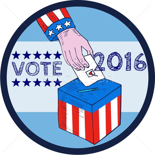 Foto stock: Votar · 2016 · mão · cédula · caixa · círculo