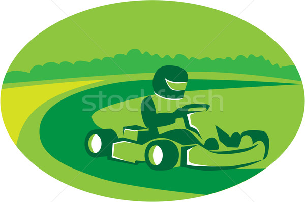Go Kart Racing Oval Retro Stock photo © patrimonio