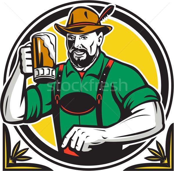 Oktoberfest Bier Kreis Retro Illustration mug Stock foto © patrimonio