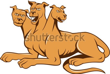 Mastiff Dog Mongrel Barking Sitting Cartoon Stock photo © patrimonio