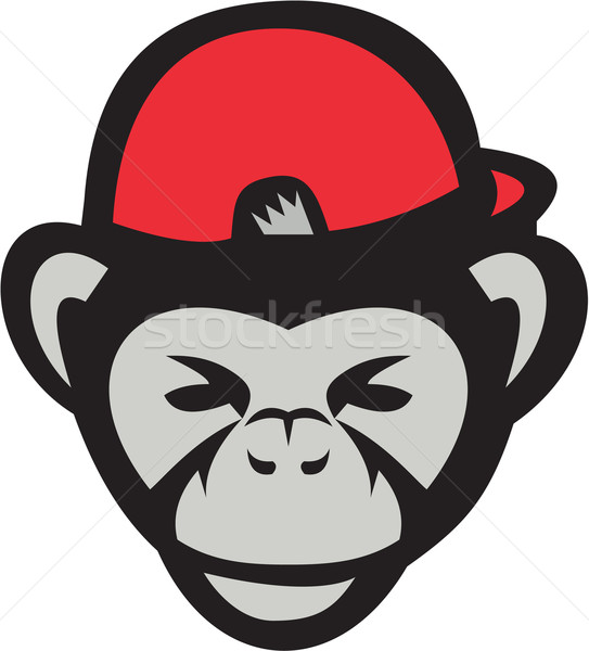 Csimpánz fej baseballsapka retro illusztráció baseball játékos Stock fotó © patrimonio