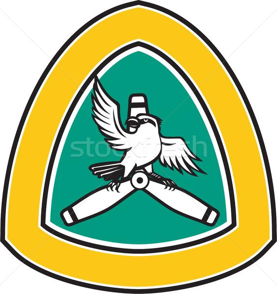 Shrike Perching Propeller Blade Crest Retro Stock photo © patrimonio