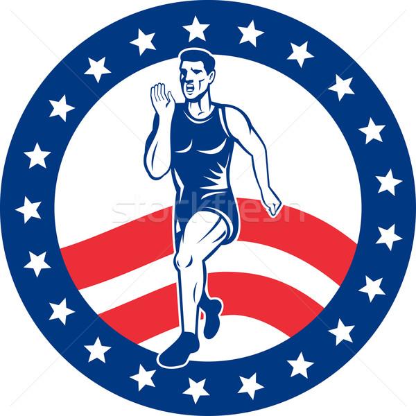 Amerykański maraton runner gwiazdki ilustracja Zdjęcia stock © patrimonio