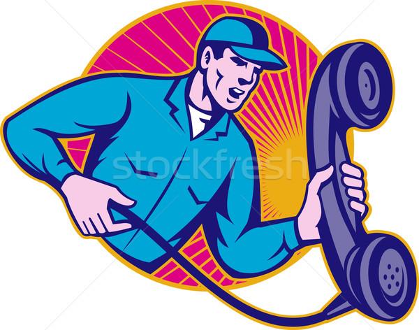 Telephone Repairman Worker Holding Retro Phone Stock photo © patrimonio