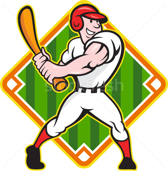 Baseball Player Batting Diamond Cartoon Stock photo © patrimonio