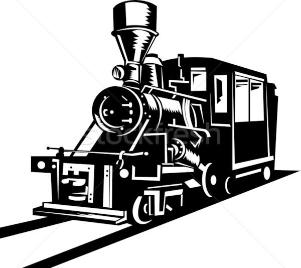 Vintage stoom trein locomotief illustratie omhoog Stockfoto © patrimonio