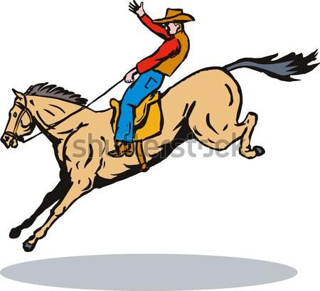 Paard illustratie ridder pantser schild paardrijden Stockfoto © patrimonio