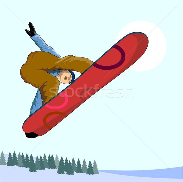 Snowboard aire ilustración persona hombre nieve Foto stock © patrimonio