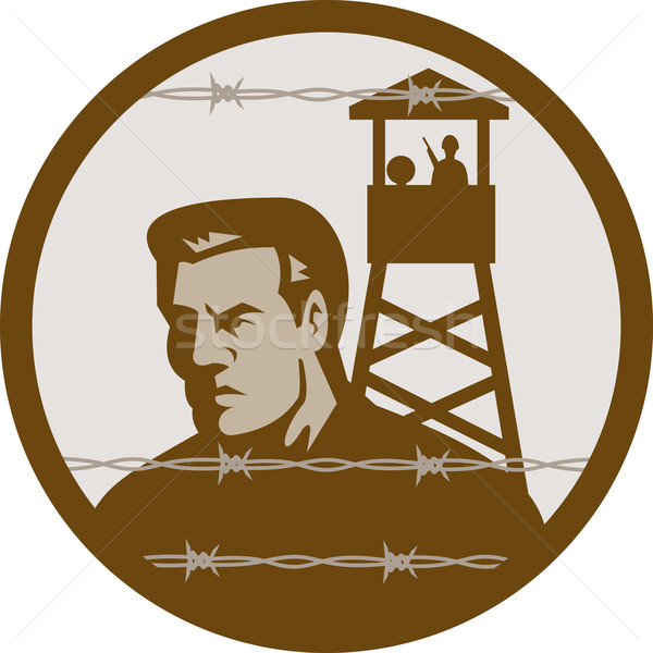 Prisoner of war in a concentration camp with guard tower Stock photo © patrimonio