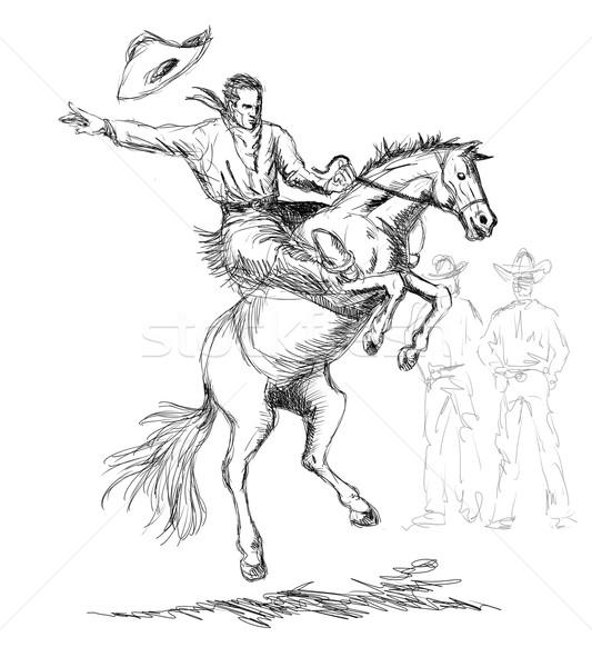 Rodeo Cowboy Riding Horse Stock photo © patrimonio