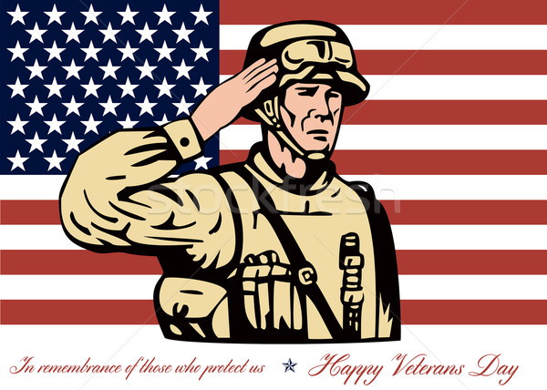 Happy Veterans Day Greeting Card Soldier Salute Stock photo © patrimonio