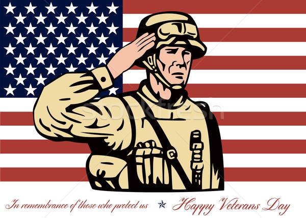 Felice giorno biglietto d'auguri soldato poster Foto d'archivio © patrimonio