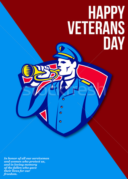 Modern Veterans Day Soldier Bugle Greeting Card Stock photo © patrimonio